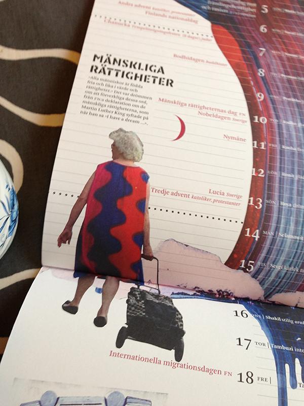 Mångkulturella almanackan 2015 uppslagen på december.