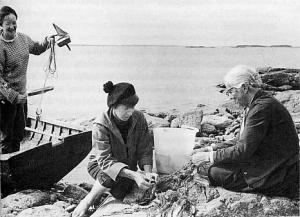 Tuulikki Pietilä, Tove Jansson och Signe Hammarsten-Jansson på Klovharun 1958.