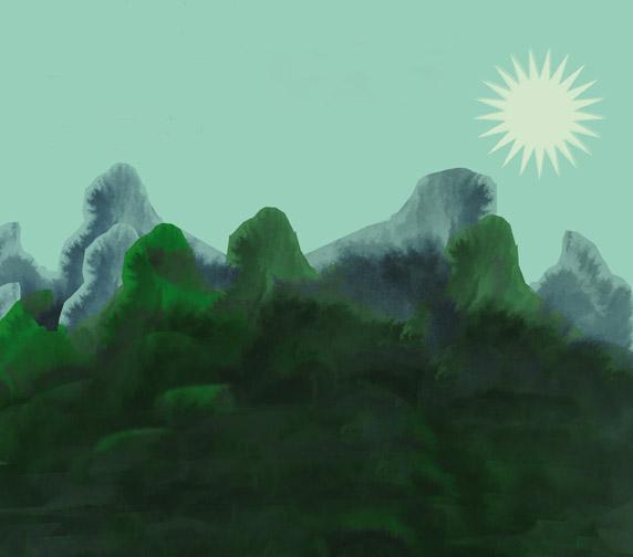 berg och sol, illustration Irene Thisner